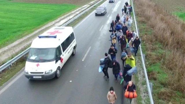 Migrants near Idomeni in Greece