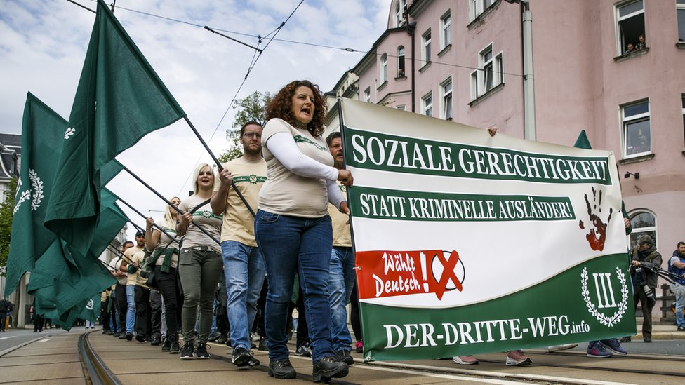 Supporters of the far-right The Third Way (Der Dritte Weg) movement march on May Day on May 1, 2019 in Plauen, Germany