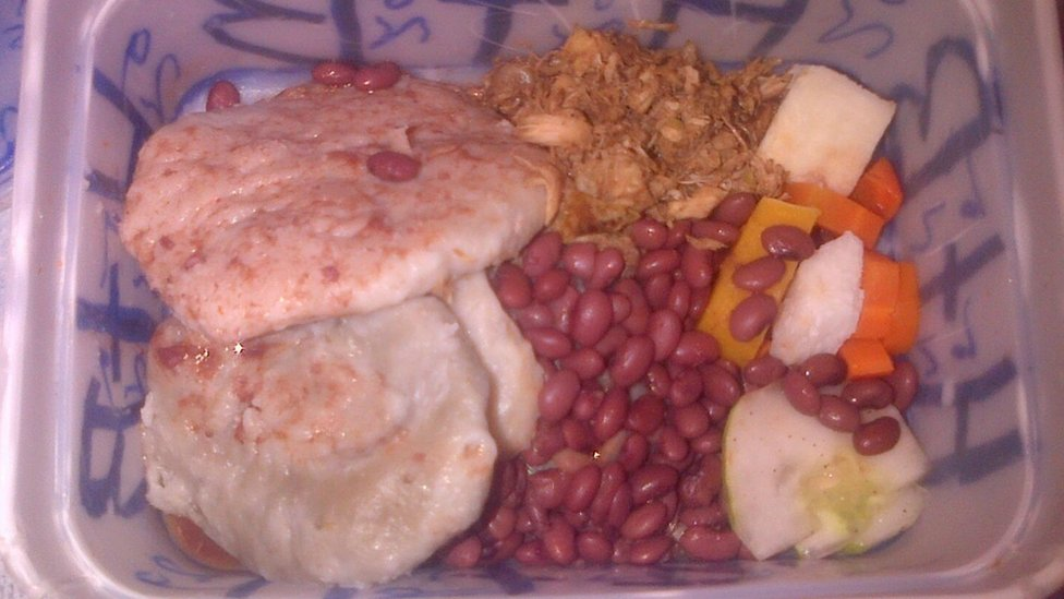 Food served inside a prison in Antigua