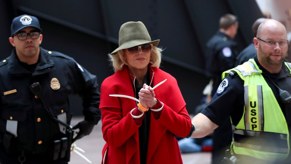 Jane Fonda arrested for protesting inside the Senate Office Building on Capitol Hill in Washington D.C.