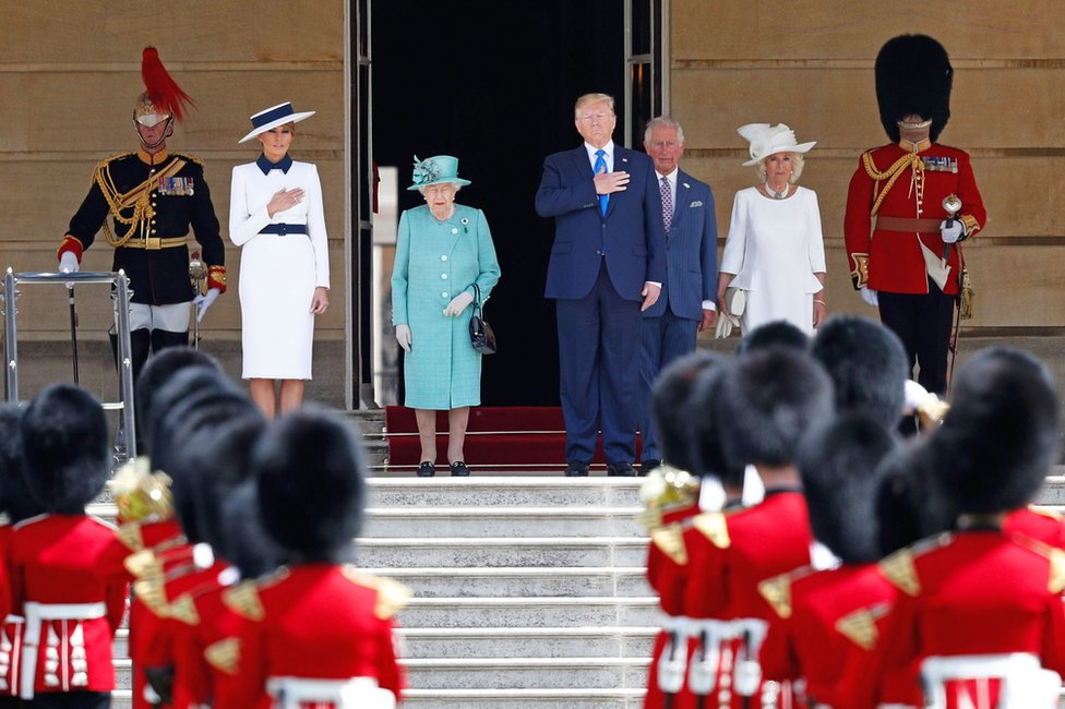 First Lady Melania Trump, Queen Elizabeth II, President Trump, Prince Charles, Prince of Wales and Camilla, Duchess of Cornwall