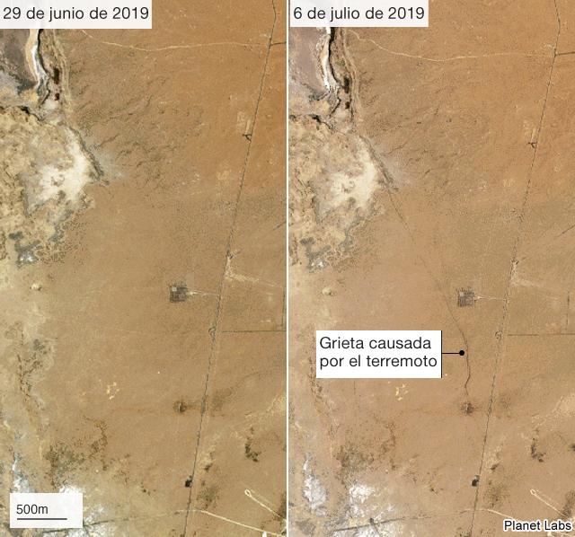 Imágenes satelitales del antes y el después del terremoto del 6 de julio en California.