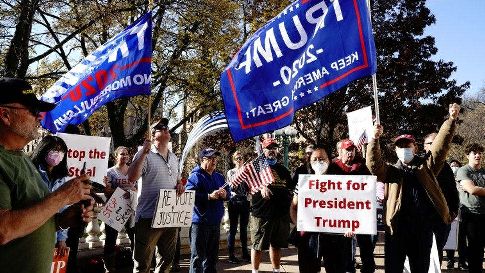 Trump supporters in Madison, Wisconsin, on November 7, 2020