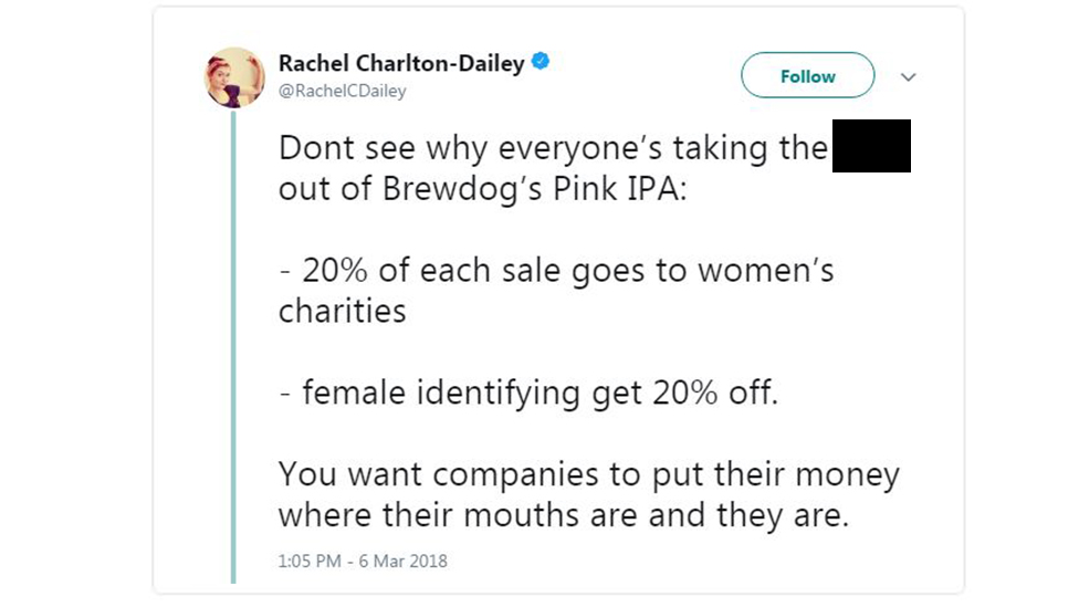 A woman defends Brewdog's Pink IPA campaign on Twitter