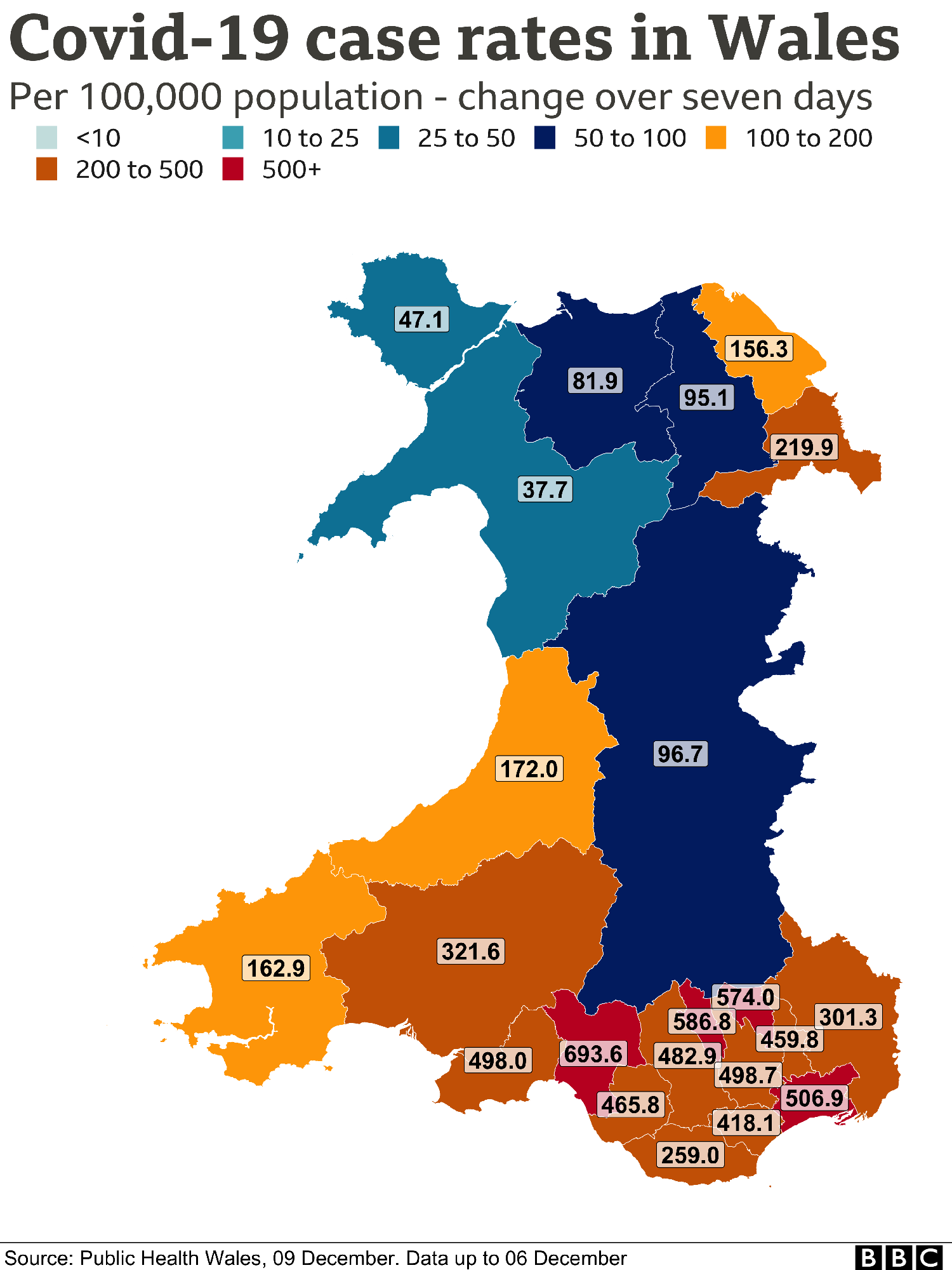 Case rate map of Wales
