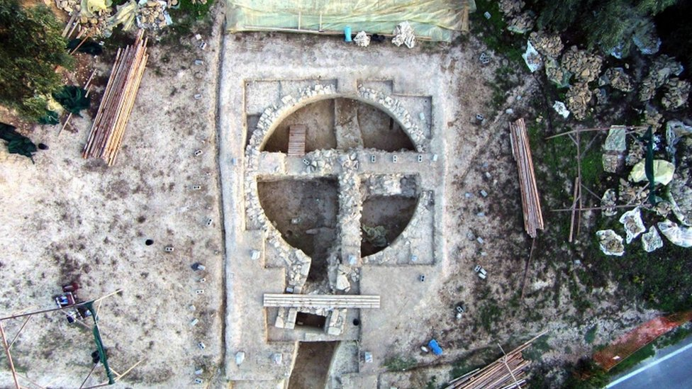 Vista aérea de la tumba