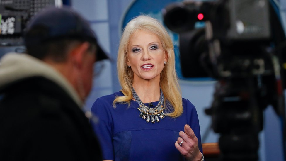 Kellyanne Conway answers questions during a network television interview in the James Brady Press Briefing Room of the White House in Washington