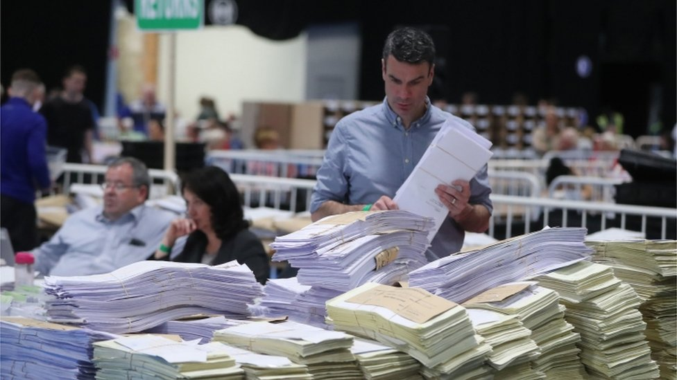 Ballots at the RDS count centre in Dublin