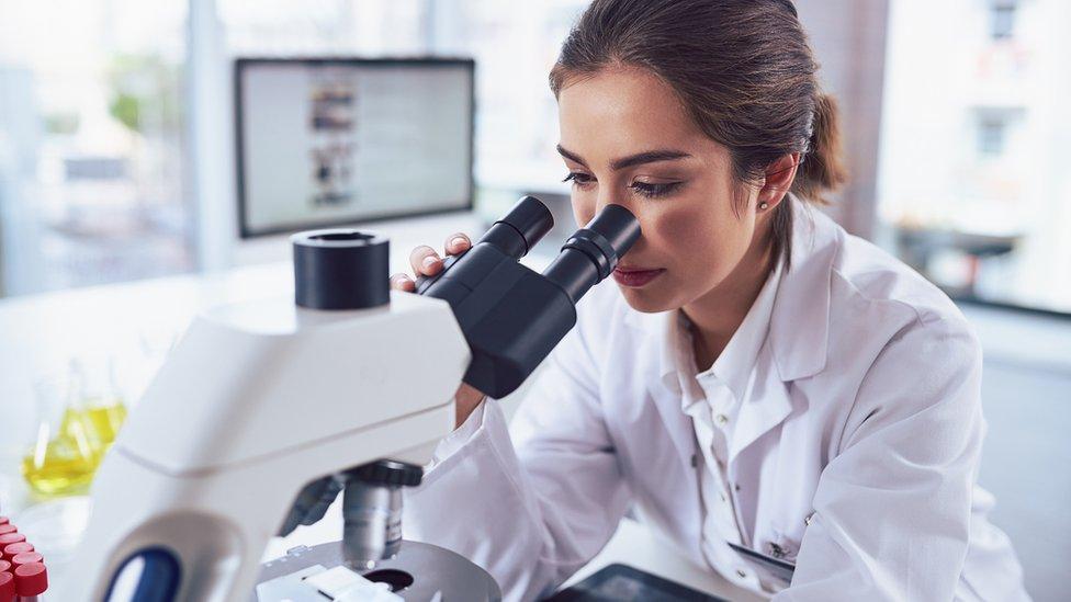 Científica observa en un microscopio.
