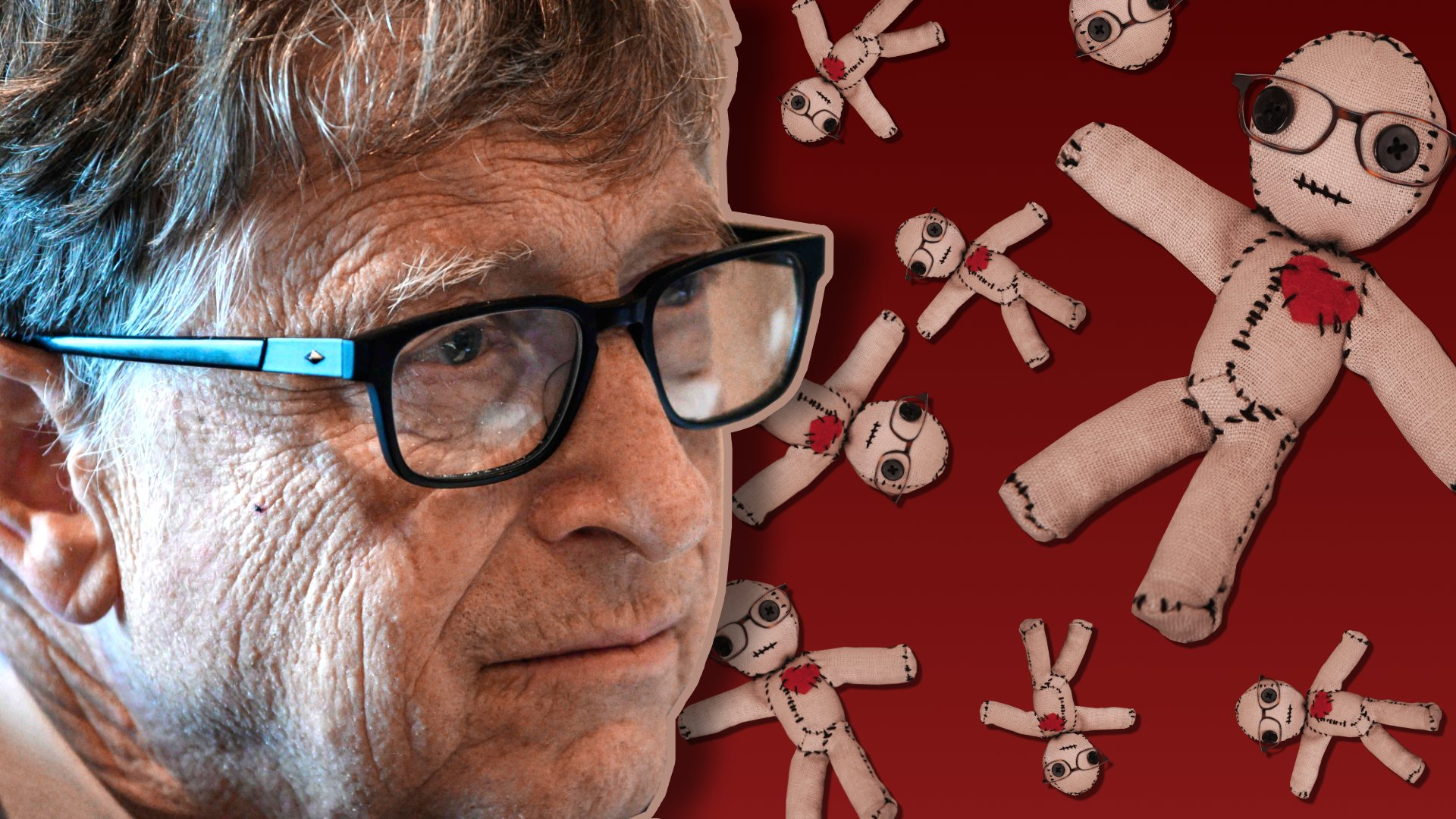 Bill Gates next to images of a voodoo doll