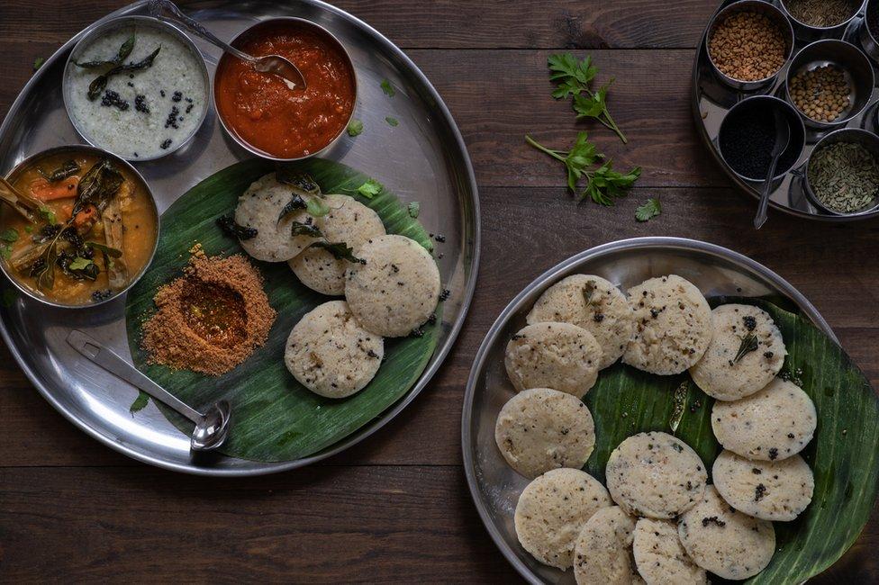 A plate of Kanchipuram idlis