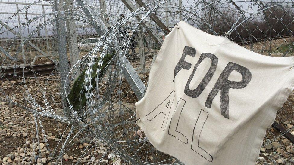 Macedonian fence from side of Idomeni, Greece