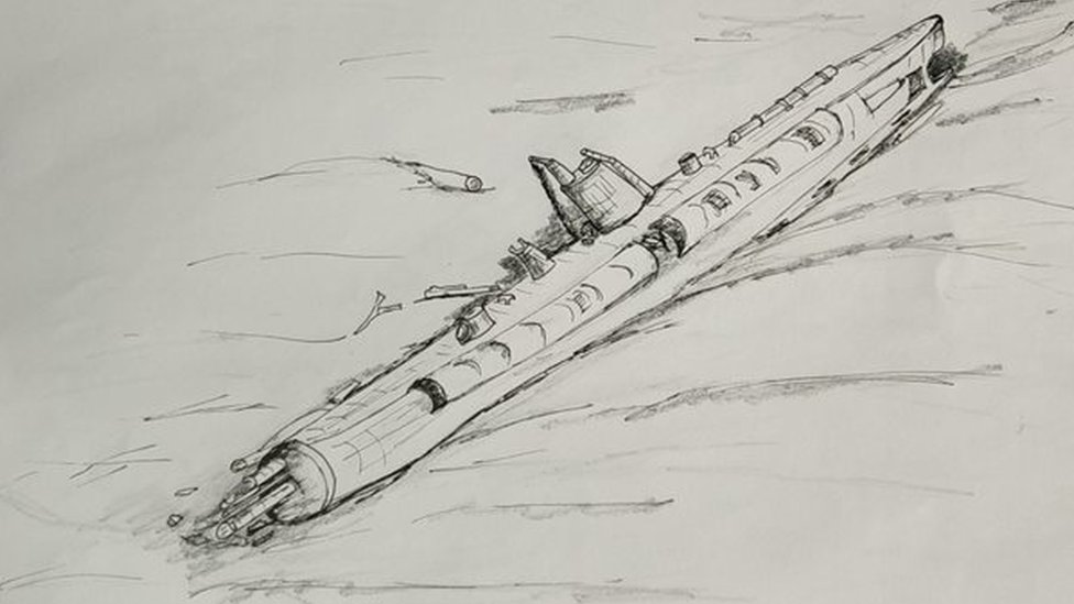 Another sketch of the U-boat wreck