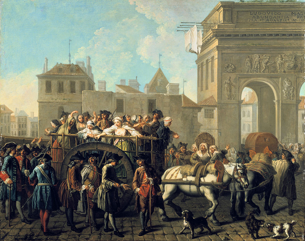 """""""El transporte de prostitutas al Hospital La Salpêtrière """" pintado circa 1754 por el artista barroco francés Étienne Jeaurat (1699-1789)"""