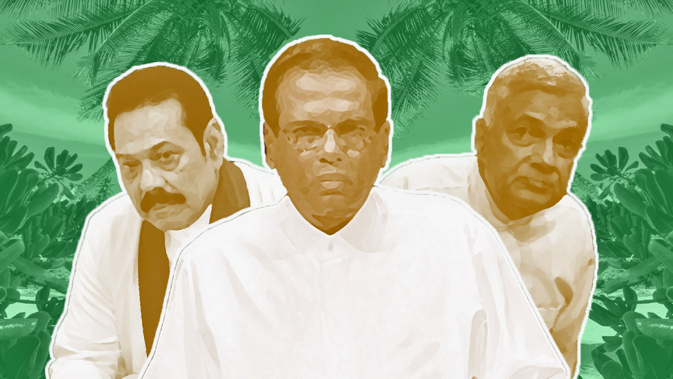 Composite picture showing Mahinda Rajapaksa, Maithripala Sirisena and Ranil Wickremesinghe