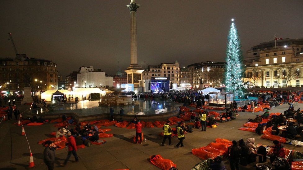 The World's Big Sleep Out event in Trafalgar Square, London