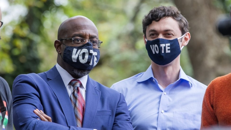 Georgia's Democratic Party Senate candidates Raphael Warnock (left) and Jon Ossoff