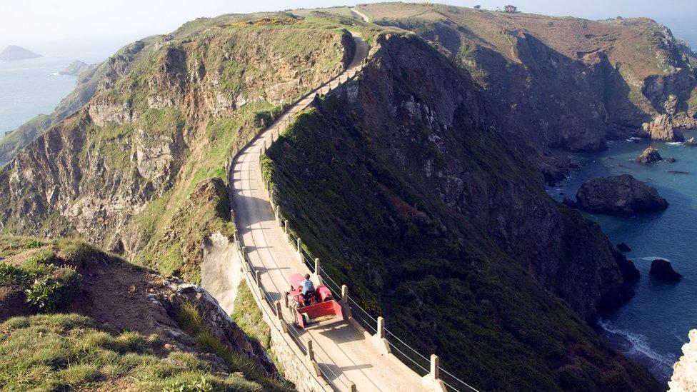 La Coupee narrow track between Sark and Little Sark