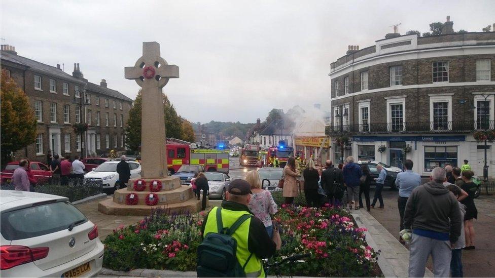 fire with war memorial