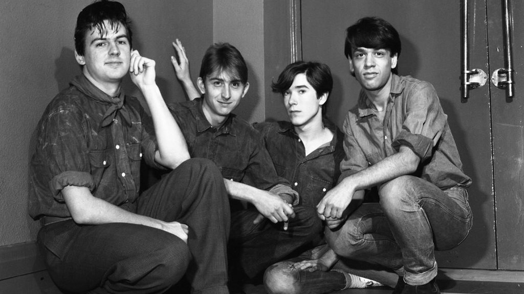 Talk Talk backstage at Top of the Pops in 1982