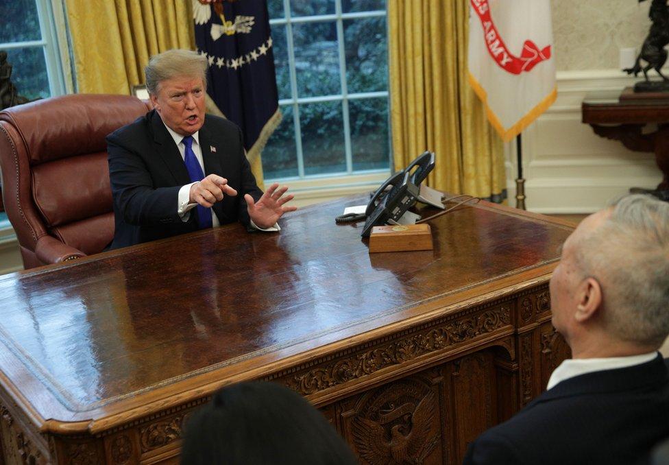 2019年2月22日,特朗普在白宮會見中國副總理劉鶴。