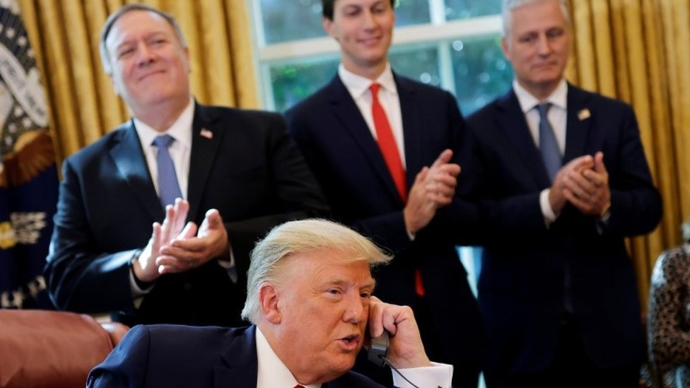 President Trump on the phone to the Israeli and Sudanese leaders, 23 October 2020