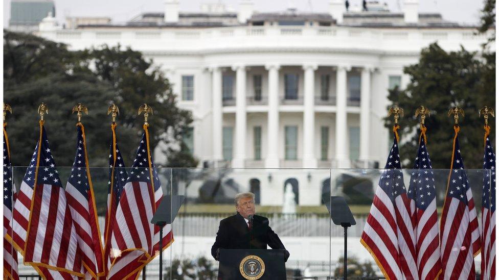 唐納德·特朗普在白宮前的集會上