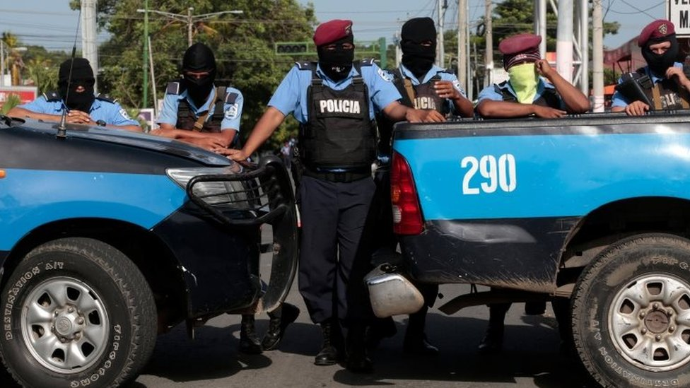 Police block the entrance of Divine Mercy Catholic Church in Managua, Nicaragua July 14, 2018.