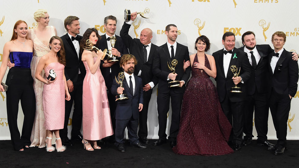 David Benioff and DB Weiss at the 2015 Emmys with Game of Thrones cast