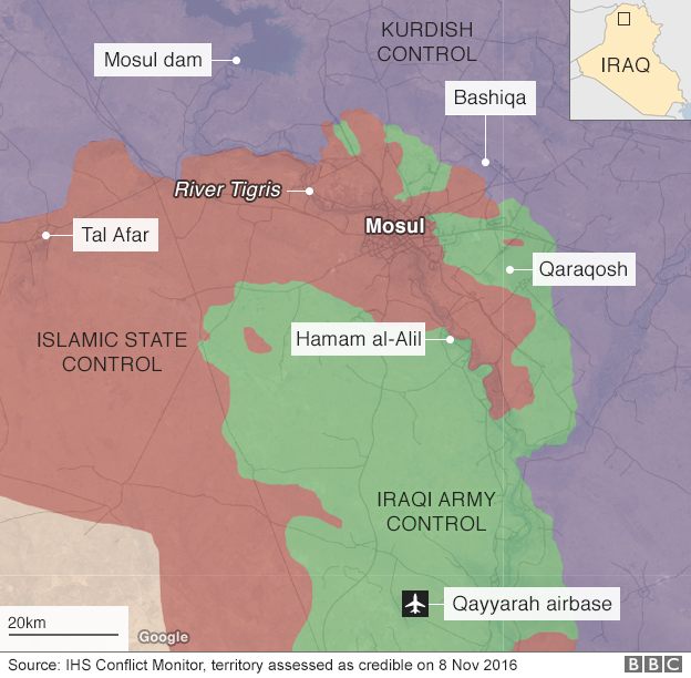 Map showing control of territory around the Iraqi city of Mosul