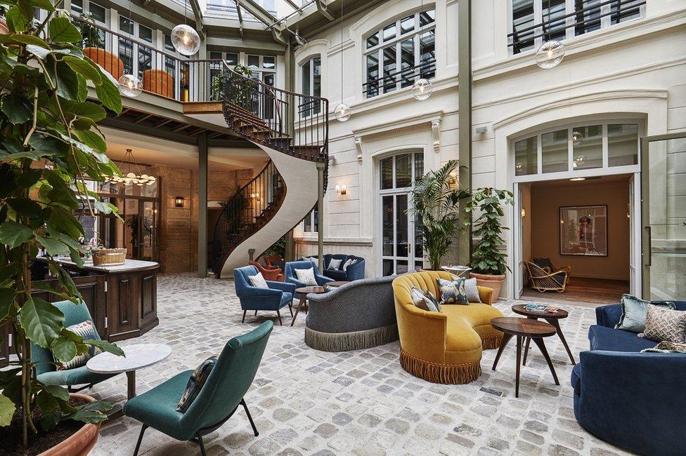 The lobby of Hoxton Paris