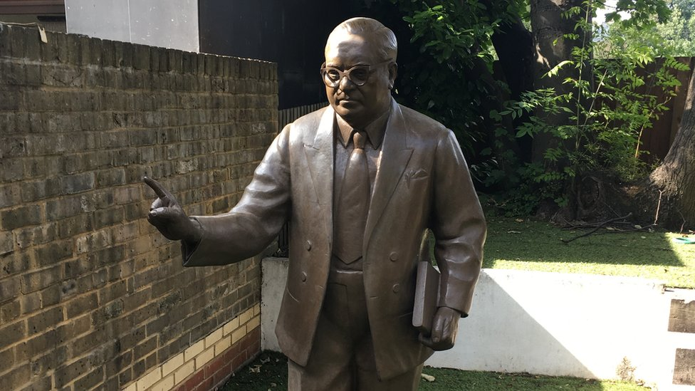 A statue of Dr Ambedkar has been erected in the back garden of the property