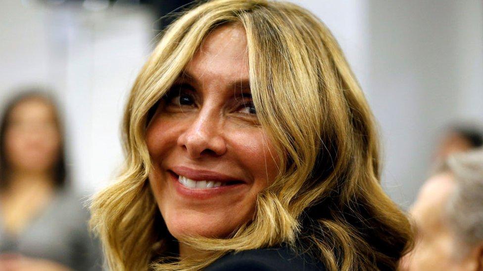 Enero de 2020: Carole Ghosn en la conferencia de prensa de su esposo en Líbano.