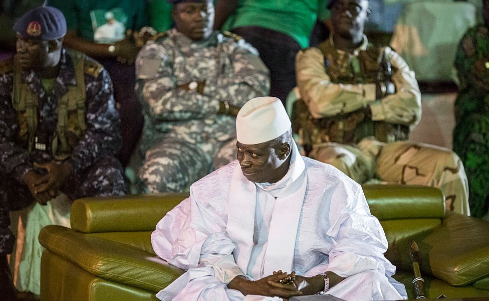 Yahya Jammeh pictured in November 2016, the month before he lost elections