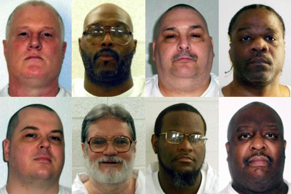 This combination of pictures obtained from the Arkansas Department of Correction and created on March 17, 2017 shows death row inmates (L-R, top) Don William Davis, Stacey Eugene Johnson, Jack Harold Jones and Ledelle Lee; (L-R, bottom) Jason F. McGehee, Bruce Earl Ward, Kenneth D. Williams and Marcel W. Williams