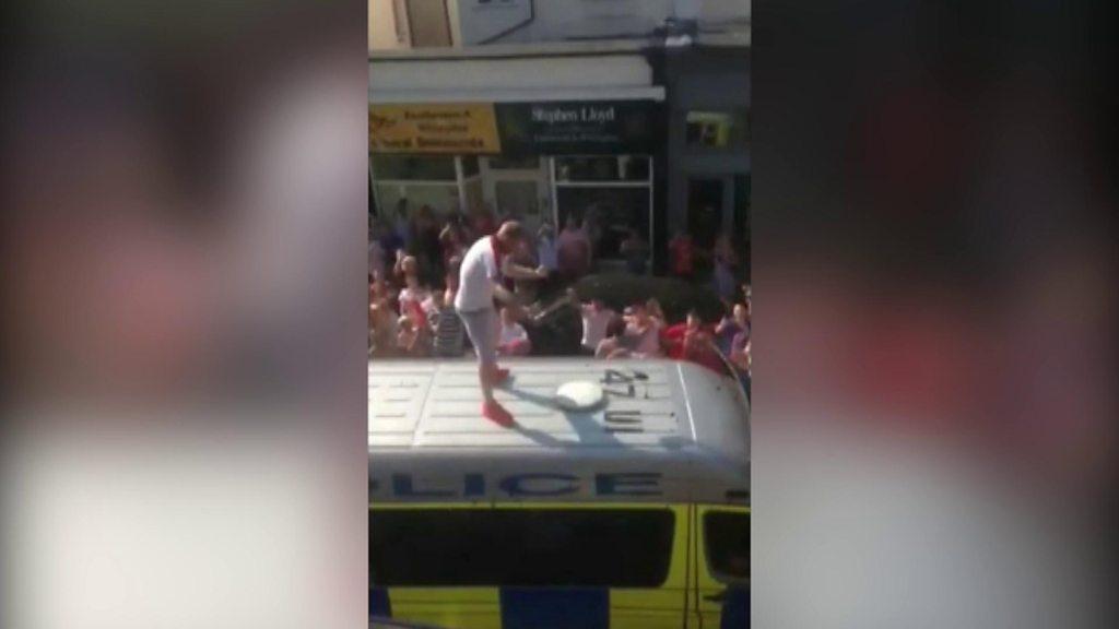 Eastbourne World Cup celebration on police van