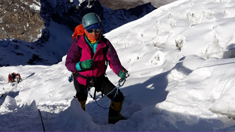 Purnima Shrestha during one of her expeditions in the Himalayas