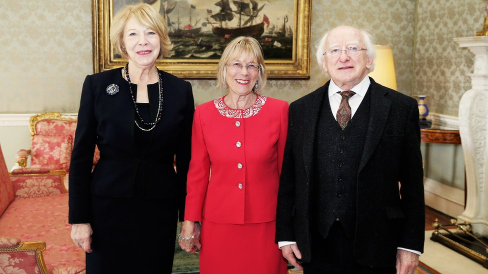 Sally O'Neill with President Michael D Higgins and his wife Sabin