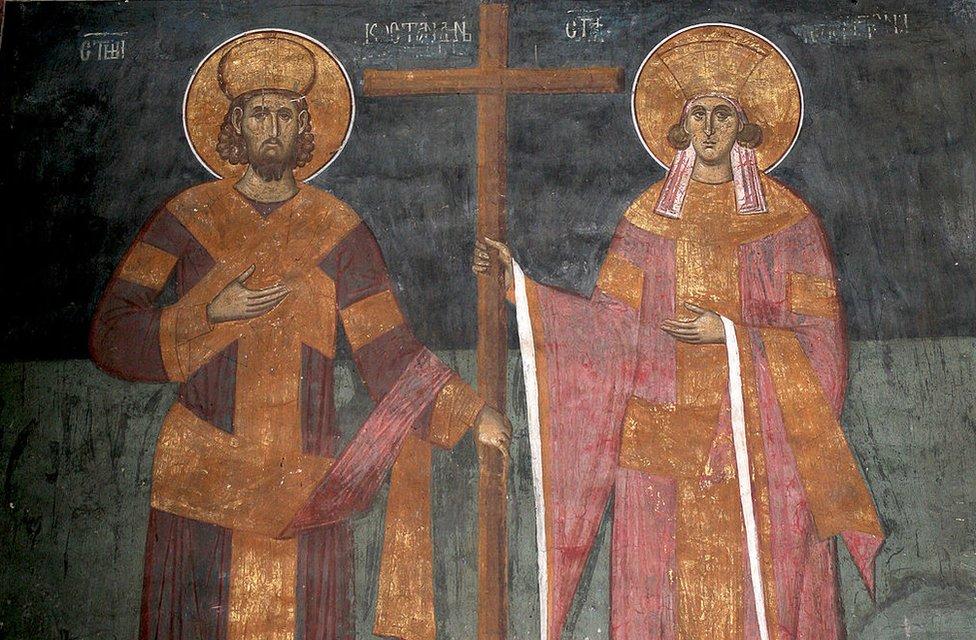 Imagen del emperador constantino y su madre Helena