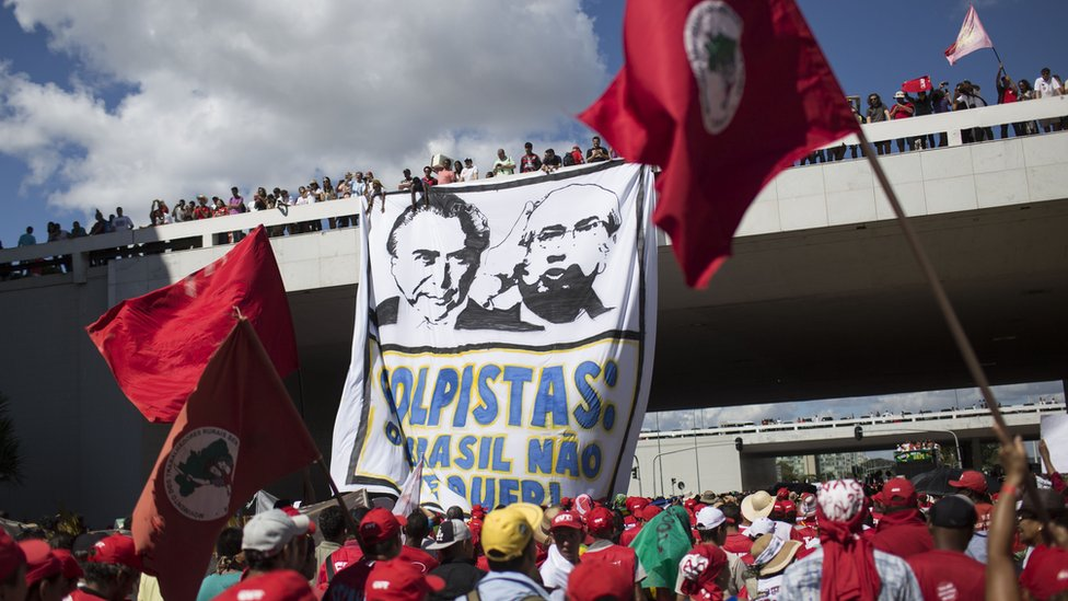 Supporters of Brazil's President Dilma Rousseff march in Brasilia