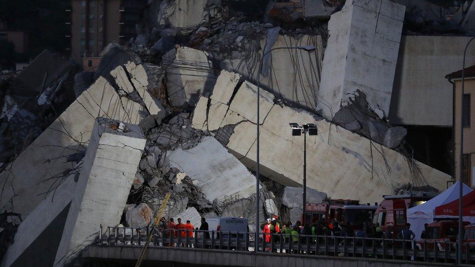 Italy bridge: Rescuers search for survivors in Genoa