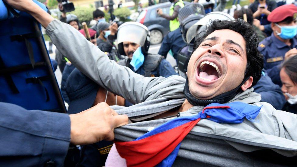 Protesta en Katamandú