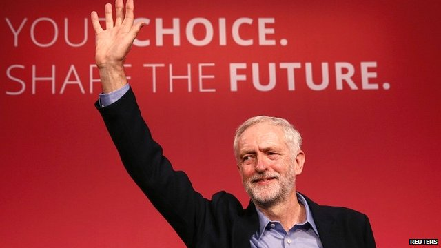 Jeremy Corbyn waves after making his acceptance speech