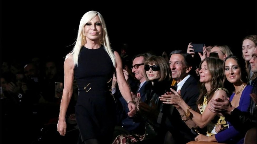 Donatella Versace walks down the catwalk after her Versace presentation in New York, U.S. December 2, 2018