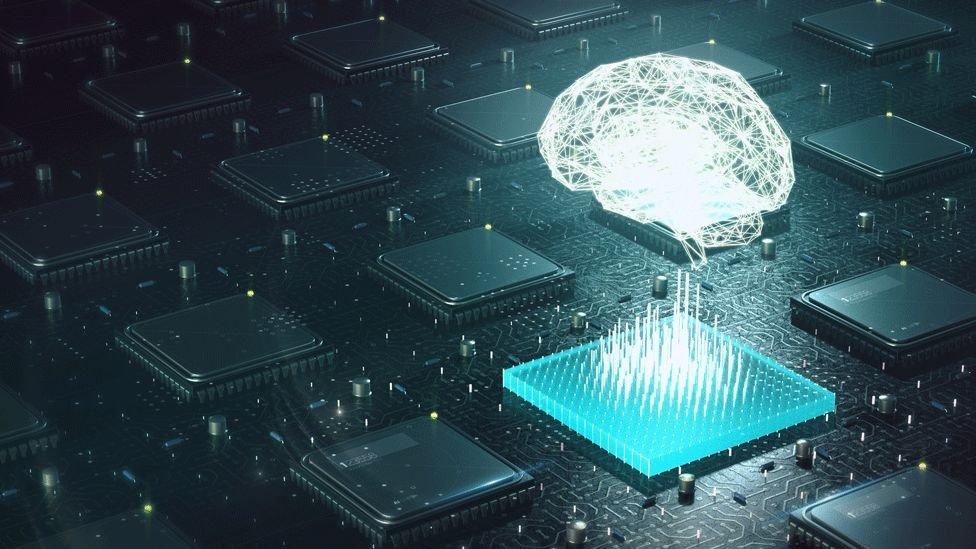 Ilustración de un cerebro conectándose a un chip.