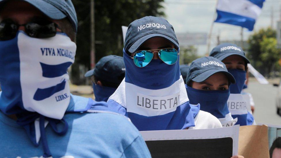 Manifestantes en Managua, Nicaragua.