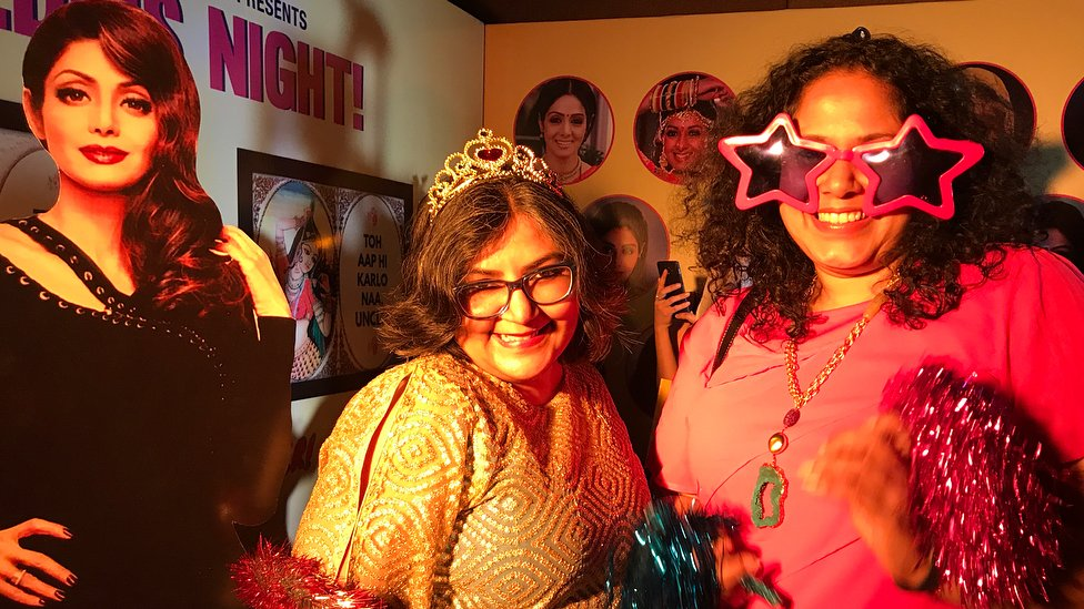 Posing and playing at the special Sridevi photo booth with lots of costume accessories