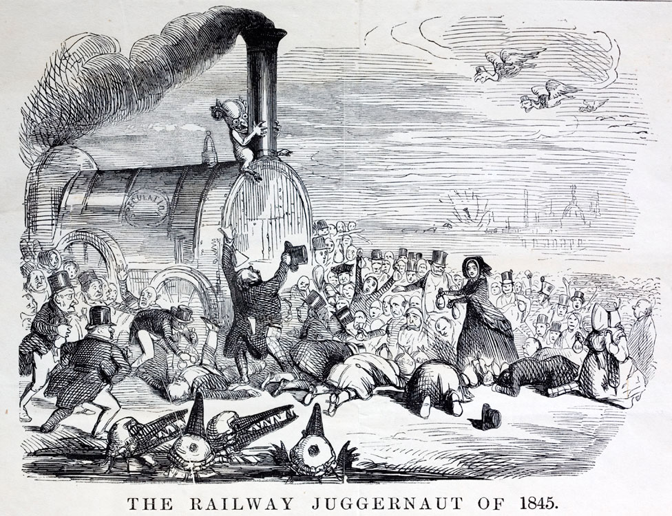 A cartoon satirising the Railway crisis of 1845