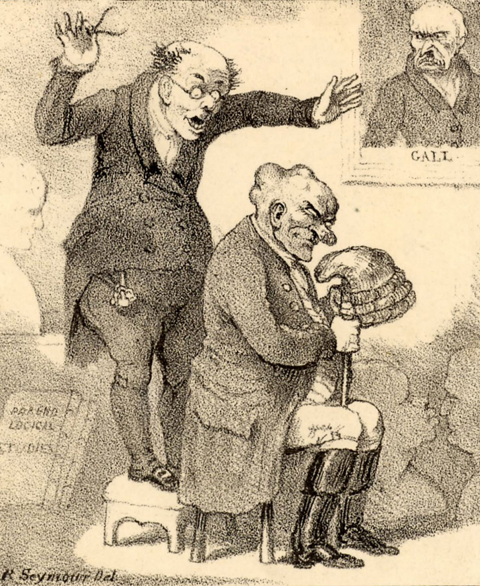 Un frenólogo sorprendido por la cabeza de su sujeto. Caricatura de Robert Seymour (1800-1836) en el apogeo de la frenología.