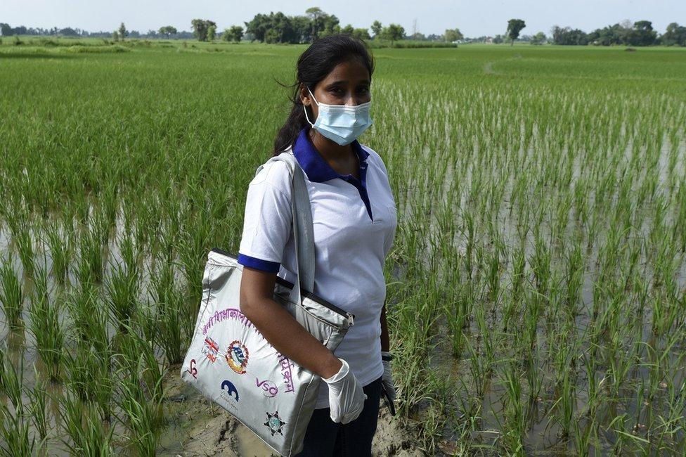 Muni Kumari Gupta standing in a field